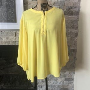 Yellow zipper front blouse